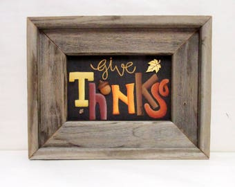 Give Thanks Sign, Hand Painted on Black Screen, Framed in Rustic Barn Wood Frame, Autumn Sign, Wood Brown Acorn, Colorful Fall Leaves