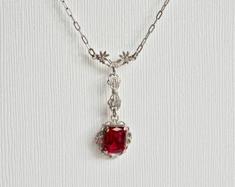 """Art Deco Necklace Ruby Glass Sterling Pendant Y Lariat Antique Jewelry 16"""" Paper Clip Chain Vintage Necklace Square Stone July Birthstone"""