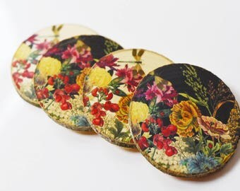 Set of 4 - Natural Printed Insect Botanical Coasters - Rustic Coasters