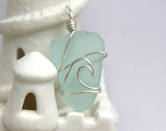 Aqua Sea Glass Silver Wave Necklace Pendant Beach Glass Ocean
