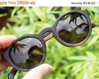 20% off SUMMER SALE customize Thanks Handmade Round 1960' Takemoto Ebony Wood prescription Sunglasses
