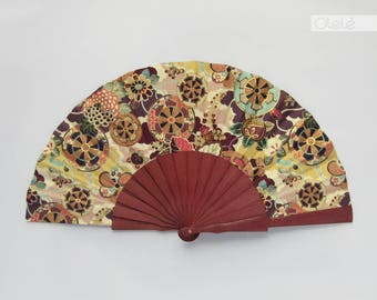 Kimono fabric Purpleheart wood hand fan with case - Burgundy Gold - Spring accessory - shower hostess gift - menopause relief
