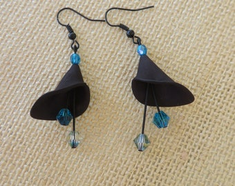 Black Lucite Calla Lily With Crystals Drop Earrings