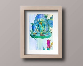 Original Watercolor Mermaid Painting - Watercolor Children's Art - Ocean Nursery Wall Decor