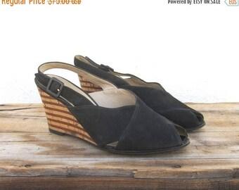 20% Off Sale Wedge Slingback Sandals Salvatore Ferragamo Black Suede Shoes Ladies Size 8