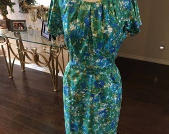 ON SALE NOW 1960 60s silk Watercolor Dress / Mad Men Dress / size 6 / Wiggle Dress
