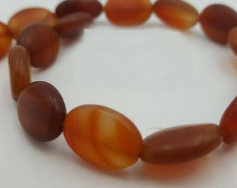 Matte Carnelian, Orange Beads, Natural Gemstone Beads, Matte Oval Beads, Beads for Jewelry Making, Smooth Oval Beads, Carnelian