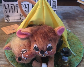 Vintage Annalee Dolls 1991 Camping Mice Tent Marshmallows