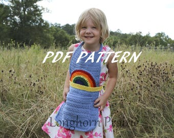 Rainbow Apron crochet pattern pdf (Instand Download)