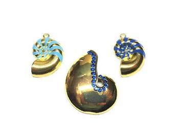Dark Blue / Light Blue Glass Rhinestone Gold Nautilus Shell Charms / Focal