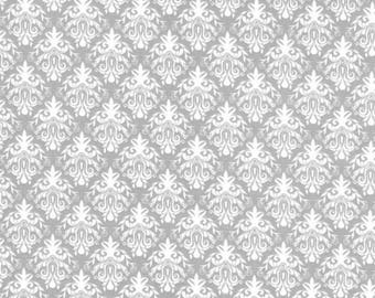 1 Yard - Gray Damask Print - Cotton Fabric - by the yard