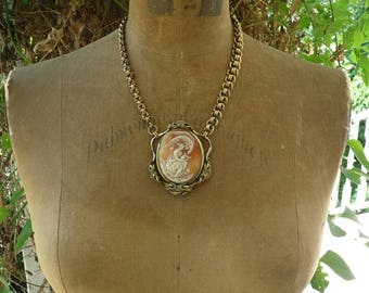 Antique Victorian Cameo Necklace, Calling Down Spirit, by RusticGypsyCreations