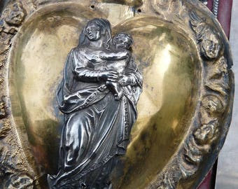 Antique French Heart of Mary, Virgin Mary Ex Voto Sacred Heart, A Marian Talisman for the Alchemist, offered by RusticGypsyCreations