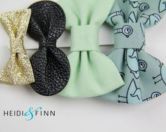 SALE Don't let the Pigeon Hairbow SET of 4 Hairclip headband Holiday teal black mint gold