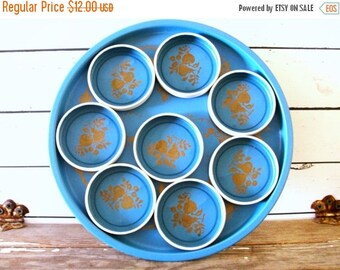 Yearly Big Sale: Vintage Metal Tray with Coasters, Mid Century Enamel Tin Drink Coaster and Serving Platter Set, 9 Piece Turquoise White and