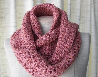 SALE BROWN ROSE Circle Scarf Infinity Scarf Crocheted Cowl in Vegan Acrylic / Earth Tones scarf / Ready to ship Gift