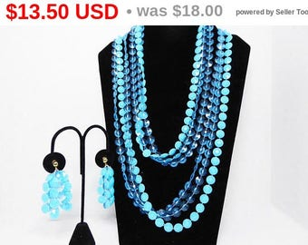 MOD Plastic Bead Necklace & Earrings - Shades of Turquoise Blue Beads - Multi Strand Rope length Necklace / Dangling Earrings, Vintage 1960s