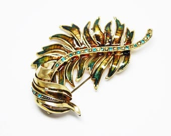 Monet Rhinestone Palm Branch Leaf Pin - Burnished Gold Tone - Teal Rhinestones & Iridescent Enamel Curled Leaves - Vintage 1980s 1990s Retro