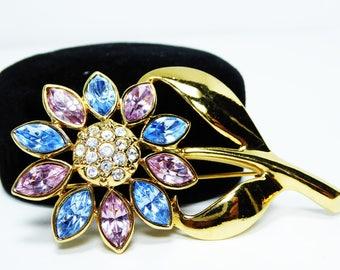 Blue & Pink Rhinestone Flower Pin - Gold Tone Long Stem and Leaves - Marquis Rhinestone Petals - Modern Garden Flower Brooch - Vintage 1990s