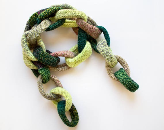 Ivy Green Chain Scarf - Chunky Green Chain Scarf - Chain Link Scarf in Elven Greens - Elf Green Scarf from our original design Chain Scarves