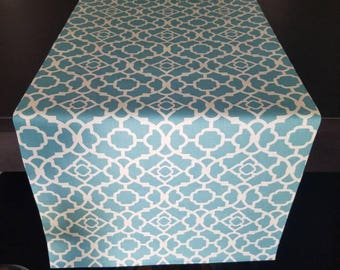 Lovely Lattice In Aqua, Table Runner, Table Linens, Home Decor, 15
