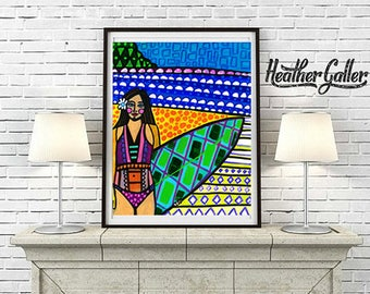 50% Off Today- Hawaii Surfer Girl Art Print Poster of Painting by Heather Galler Surfing Surfboard Beach Surf Art Honolulu Waikiki Beach
