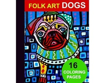 30% OFF Today- 16 Folk Art Dogs Digital coloring book pages, adult coloring book, coloring pages, printable coloring pages by Heather Galler