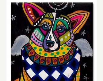 45% Off Today- Corgi Angel art Tile Ceramic Coaster Mexican Folk Art Print of painting by Heather Galler dog