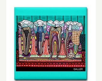 45% Off Today- Dental art tile print on ceramic by Heather Galler abstract anatomy science Dentist Teeth Tooth folk Art (HG858)
