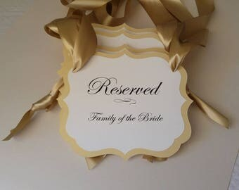 Wedding Reserved Pew Signs Chair Seat For