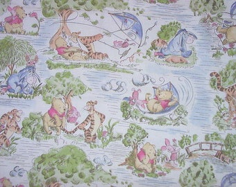 Pooh Fabric, Pooh Color Toile, Fabric, Cotton Fabric, color toile, remnant, Fat Quarter, 18X21, FQ, toile fabric, pooh, winnie the pooh