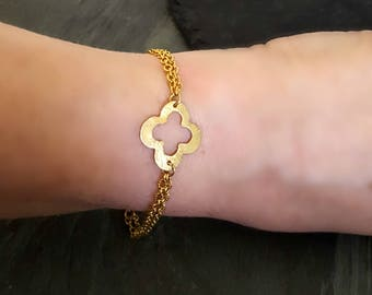 Gold Filled Chain Bracelet, Gold Clover Bracelet, Clover Jewelry, Simple Gold Bracelet, Gold Quatrefoil, Gold Layer Bracelet