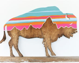 Bison Wood Cut Out Large Wood Cut out Wall Art Western Nature Natural Southwest Buffalo