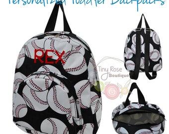 Toddler Backpack - Baseball Booksack - Personalized School Bag, Book Bag, Mini Backpack
