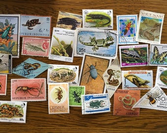25 snakes, reptiles, beetles, insects colorful postage stamps for collage, scrapbooks collecting philately. C1