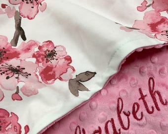 Watercolor floral Baby Blanket, Pink Floral Cotton Baby Blanket, Personalized Baby blanket,Floral Woodland Nursery, toddler size