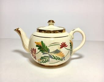 Vintage Teapot Sudlows Burslem England Fall Colors Autumn Leaves Mad Hatter Decor