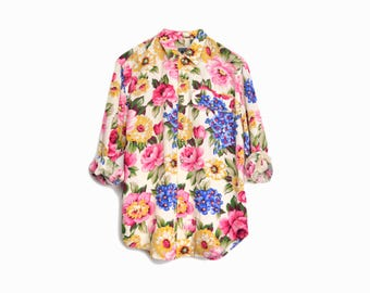 Vintage 90s Floral Boy-Shirt in Pink & Cream / Floral Print Long Sleeve Shirt - women's small