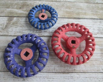 FAUCET HANDLES DISTRESSED - lot of 3 Vintage Painted Assorted Colors Large Heavy Duty for Mixed Media, Steampunk, Altered Art