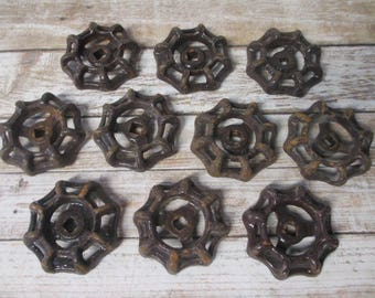 FAUCET HANDLES DISTRESSED - 10 Vintage Brown for Mixed Media, Steampunk Industrial Decor, Altered Art Projects