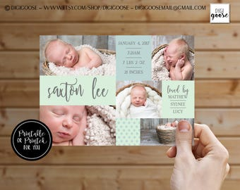 BIRTH ANNOUNCEMENT // Boy Birth Announcement // Baby Boy Announcement // baby announcement // collage baby card // printable // printed