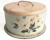 "1950s Printed Metal Cake Keep - Cake Server - Retro Pink & Black Graphics ""Well Loved Patina"""