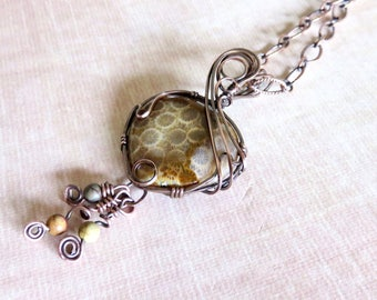 Agatized Fossil Coral Wire Wrapped Coppe Pendant Necklace