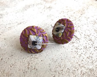 """Disk earrings, """"Royalty"""" purple and bronze murrano glass style with new design style and ear wires by MarieSegal 2017"""
