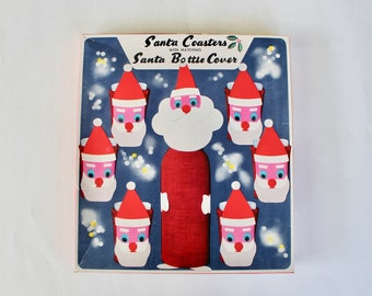 Vintage 1960's Santa Claus Glass and Bottle Cover Set in Original Box! Mid Century Christmas!