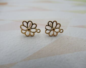 Rose Gold Plated Ear Posts - Flower Stud Earrings - Loop for Dangles - Includes Ear Nut Backs - Qty 1 pair *NEW ITEM*