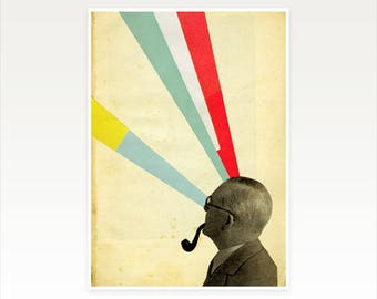 CLEARANCE SALE! Male Portrait, A5 Print, Surreal Collage Wall Art - Mind Altering