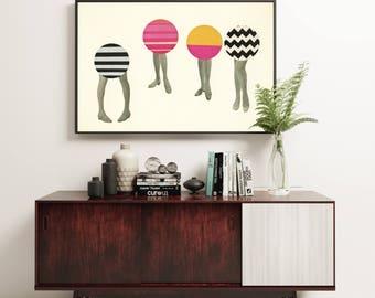 Mod Art, Pop Art Poster, Collage Art Print, Female Figure, Abstract Collage, Humor - Dancing Feet