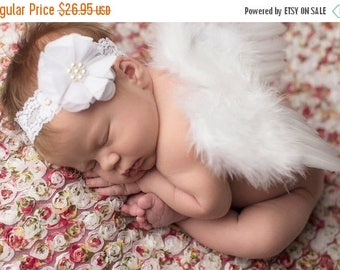 ON SALE White Feather Wing and Headband Set, Newborn Photo Prop, Baby Girl Prop, Girl Photography Prop Set, Newborn Photography, Baby Wings