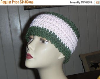 Messy bun Head Band Primrose. Handmade Pale Pink & Olive Crochet BOHO Headband. Hand crocheted head warmer ear warmer Fall autumn winter